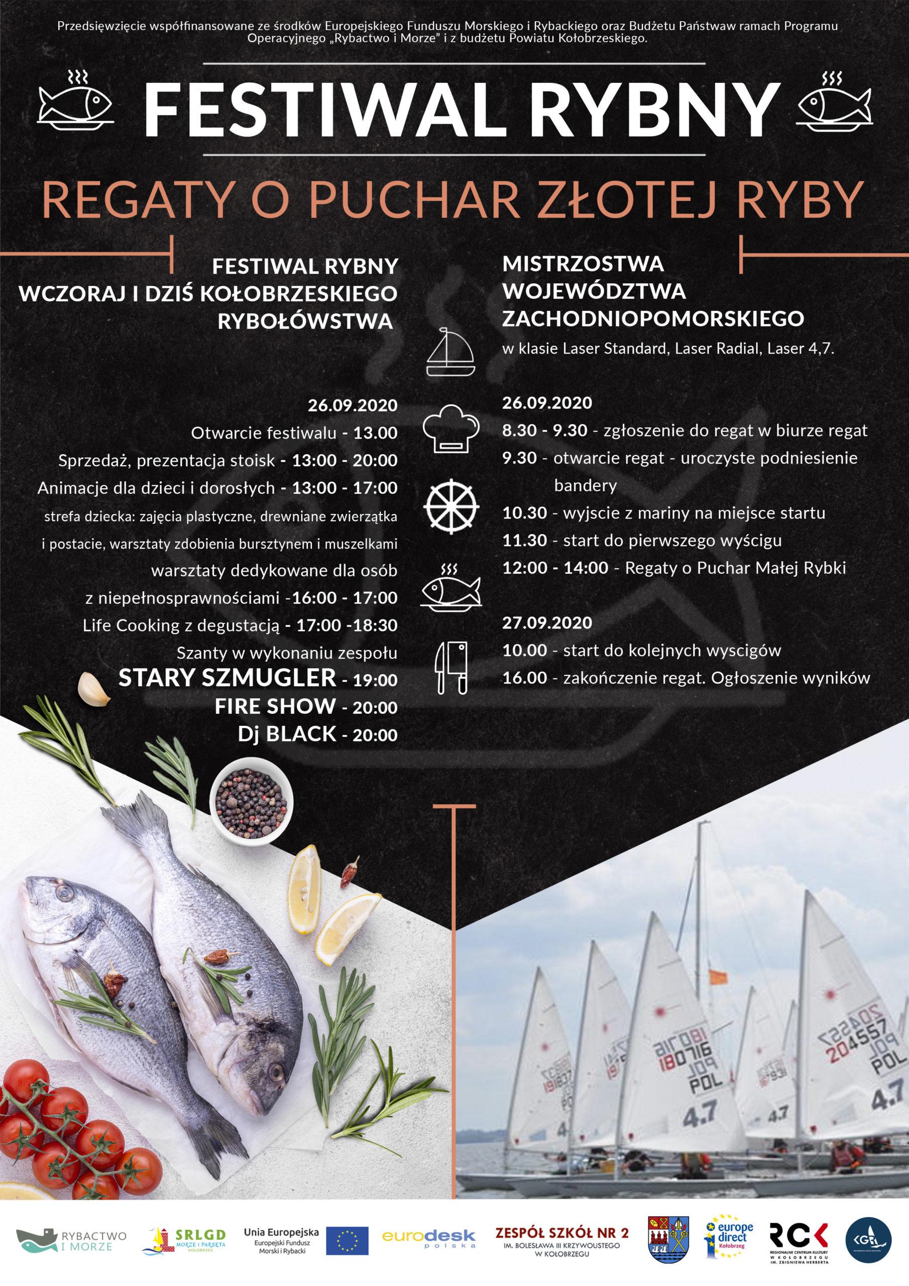 Zapraszamy na Festiwal  Rybny oraz Regaty o Puchar Złotej Ryby-26i 27 września 2020 Marina Solna w Kołobrzegu